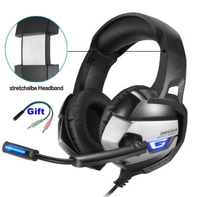 ONIKUMA K5 Gaming Headset Earphone 3.5mm with MIC LED Headphone for PS4 Xbox PC