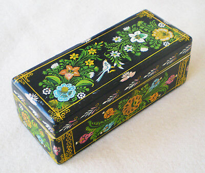 Vintage Mexican OLINALA HandPainted Tole Lacquered Wood BOX Bird Flowers MEXICO