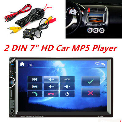 "Bluetooth Car Stereo Radio 2 DIN 7"" HD MP5 FM Player Touch Screen+ Rear Camera"