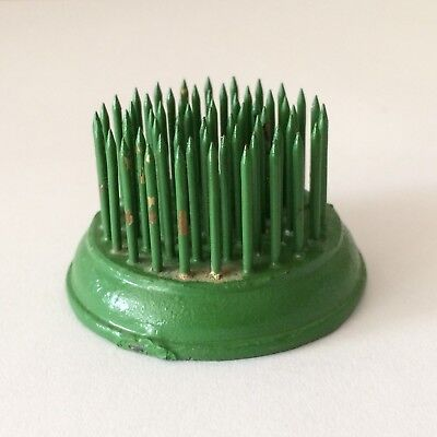 "Vintage Flower Frog 1-3/8"" Green Chippy Paint Metal Spikes Small Flower Holder"