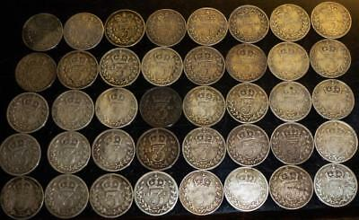 Collection of 40 silver threepences all Victorian see both images