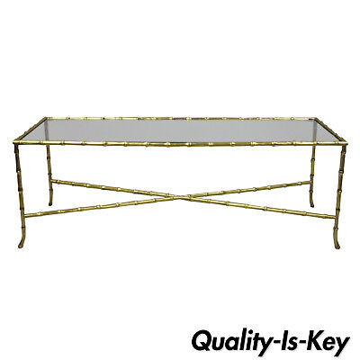 Maison Bagues French Bronze Glass Faux Bamboo Rectangular Coffee Cocktail Table