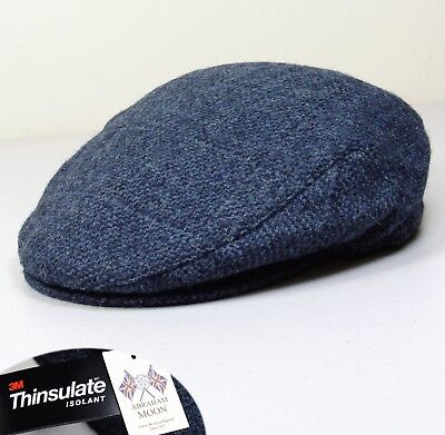539dab1c2 M&S PURE WOOL Peaky Blinders FLAT CAP with THINSULATE ~ Size LARGE ~ Blue  Mix