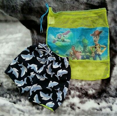 6-7 Years Boys Shark Swimming Shorts/Trunks & Toy Story Gym Kit Bag *Holiday*