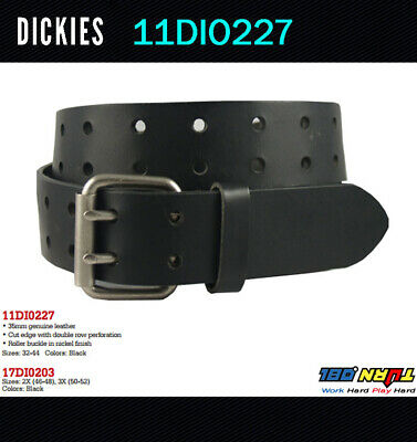 New Dickies Mens Two Hole Double Prong Bridle Black Leather  Belt 11DI0227 32-52