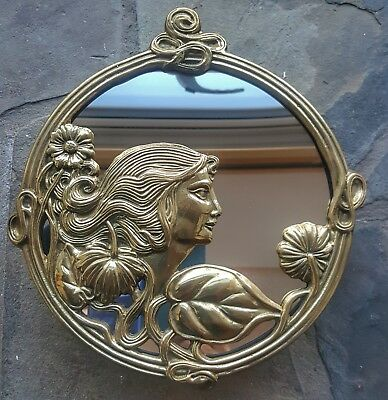 A Lovely Vintage Art Nouveau Deco Style Solid Brass Round Mirror Beautiful Lady