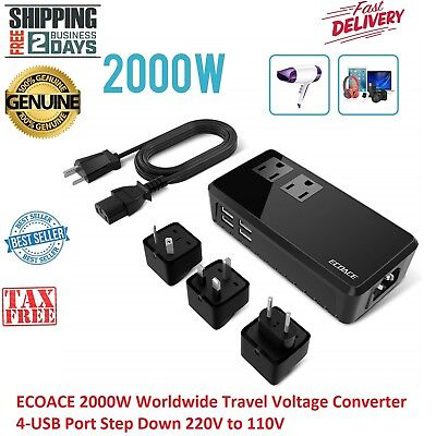 ECOACE 2000W Worldwide Travel Voltage Converter 4-USB Port Step Down 220V to 110