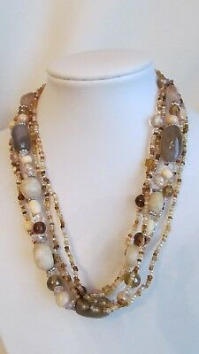 "Vintage  5 Strand Assorted Brown/green Colors Glass & Crystal 16"" Necklace K39"