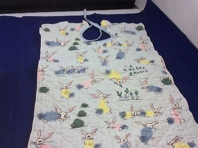 Vintage Baby Bib Quilted w/ Rabbits Blue
