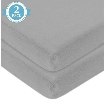 American Baby Company 2 Pack 100%  Cotton Jersey Knit Fitted Portable Crib Sheet