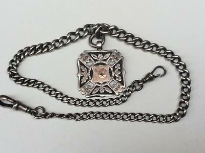 Victorian Antique Silver Vintage Pocket Watch Double Albert Chain & Fob Medal
