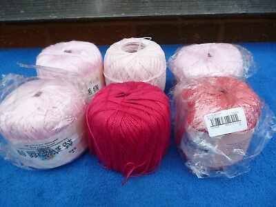 Job Lot 6 Large Balls Crochet Cotton , Pinks , 4 In Packaging 2 Started.