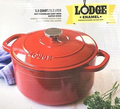 Lodge Dutch Oven 5.5 Qt Red Enameled Cast Iron Kitchen Cooking Home New Gift
