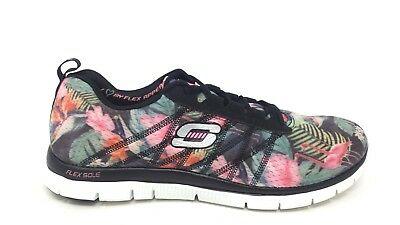 12061 Ladies Lightweight Lace Trainers in Black Multicoloured