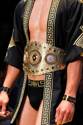 S/S 2013 Look#1 Versace Men's Gold tone Metal Greek Key Cuff Bracelet