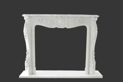 Elegant Hand Carved French Design Fireplace Mantel