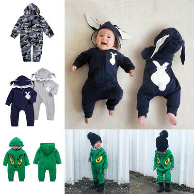 Newborn Baby Boy Cartoon Print Hooded Romper Long Sleeve Cotton Jumpsuit Clothes