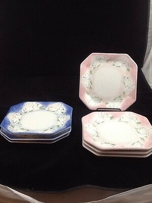 "Set of 7 Present Tense Anne Hathaway Children's 8"" Square Plate Pink Blue Bunny"