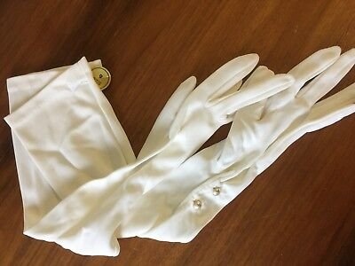 LADIES original vintage gloves WHITE long Wedding Formal New/Unused with Tags 6