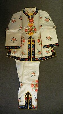 1960s GOLDEN BEE CHINESE EMBROIDERED SILK 2PCE LOUNGE SET, SZ XL, NEW/OLD W/TAGS