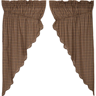Prescott Plaid Rustic Cotton Country Cottage Window Prairie Curtains