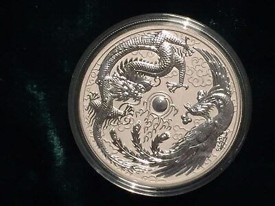 2017 Australia 1 oz. silver Dragon & Phoenix coin BU - limited mintage of 50K