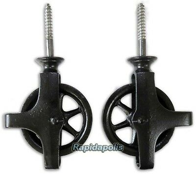 Antique Pair of 2 inch Diameter Ceiling PULLEYS for Mounting a GLOBE