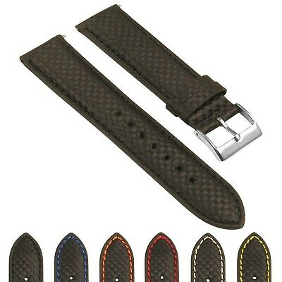 StrapsCo Men's Padded Carbon Fiber Leather Watch Band - Quick Release Strap