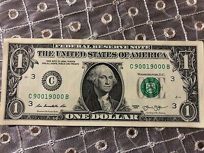 TRINARY $1 2009 FANCY LOW DIGIT SERIAL NUMBER Federal Reserve Note L 30001000 K