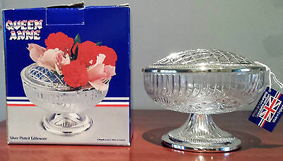 New In Box Tarnish Resistant Silver Plated Mayell England Queen Anne Rose Bowl