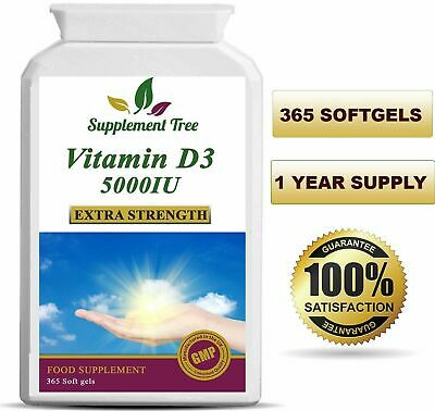 Vitamin D3 5000IU 365 Softgels Capsules - High Strength Vit D Cholecalciferol