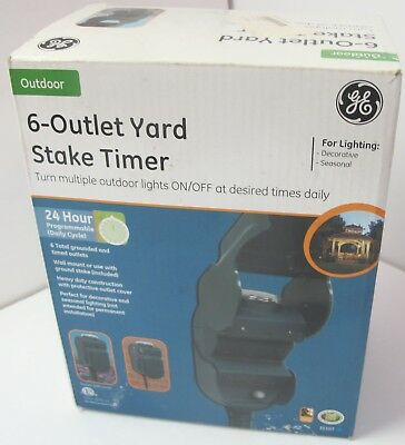 (GE) General Electric 6-Outlet Grounded 24-hour Yard Stake Timer New
