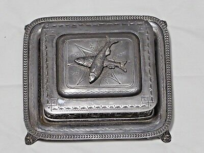 Antique Silver Plate & Glass Sardine Box - Dish - James Deakin & Sons Sheffield