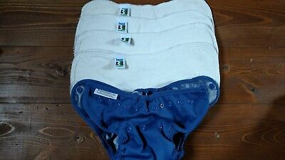 Blue Buttons One-Size Cloth Diaper Cover 9-35lbs and 4 Med Best Bottom Inserts