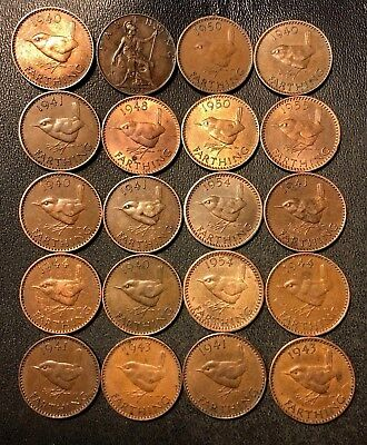 Vintage Great Britain Coin Lot! 20 Farthings - 1921-1955 - Great Group - Lot #N6