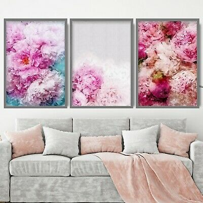 Pink Peonies Floral Abstract Blush Flower Wall Art Print Picture Poster Mix
