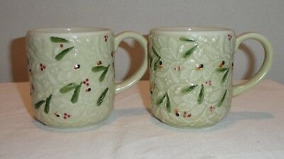Hartstone Pottery Winter Garden Holiday 2 Mugs Cups Hard to Find