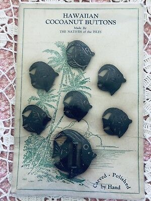 Vintage/ antique Hawaiian coconut shell fish shaped hand made buttons