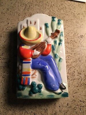 Vintage Ceramic Porcelain  Wall Pocket Man with Sombrero playing guitar