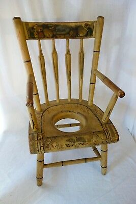 19th Century Original Old Paint Childs Potty Chair Beautiful