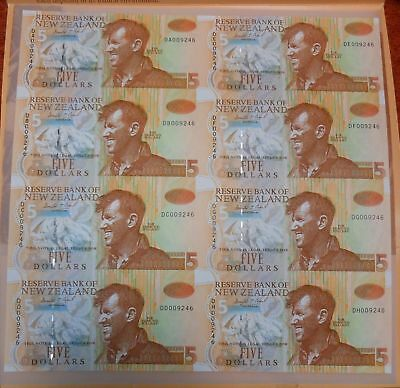 New-Zealand 8 UNCUT $5 NOTES FOLDER UNC Sir Edmund DA,DB,DC,DD,DE,DF,DG,DH009246