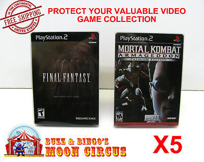 5X Sony Playstation Ps2 Dvd Steelbook Cib Game Clear Protective Box Protectors