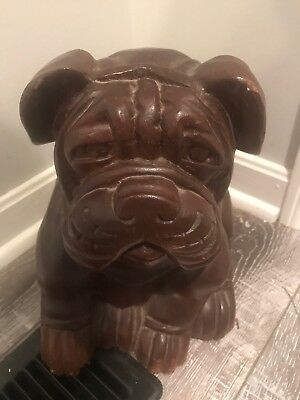 Wooden Sitting Bulldog Statue Hand Carved Sculpture Figurine Art Home Decor Gift