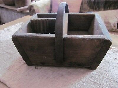 Antique Primitive Wood Carrier Box with Metal Handle, Tools/Storage, Very Heavy
