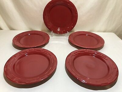 Longaberger Pottery Woven Tradition Tomato Red Lunch Round Plate-9 Inch EUC