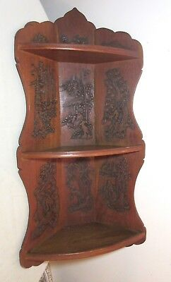 BIG antique hand carved Chinese made figural scenes corner unit wall shelf Asian