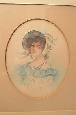 antique 19th century victorian figural female lady original watercolor painting