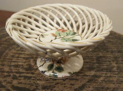 antique hand made painted Reticulated White porcelain miniature German compote