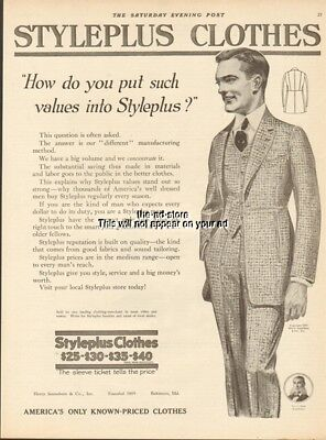 1919 STYLEPLUS CLOTHES Men's Suit-Fashions-Henry Sonneborn Baltimore Ad