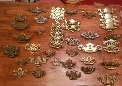 Large Lot Of Vintage / Antique Furniture Pulls Hardware  Brass 43 Pieces
